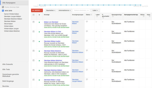 Dorins Kindermode AdWords
