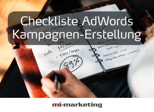 Checkliste Google AdWords Kampagnen-Erstellung