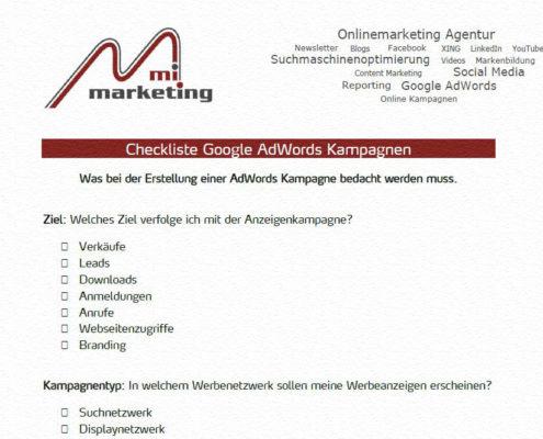Checkliste zur Erstellung von Google AdWords Kampagen