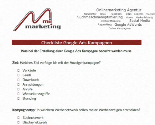 Checkliste zur Erstellung von Google Ads Kampagnen