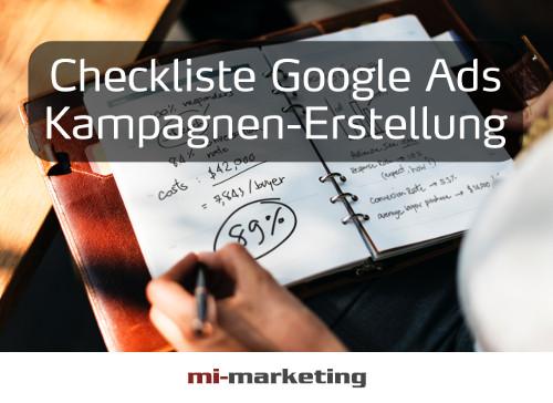 Checkliste Google Ads (früher AdWords) Kampagnen-Erstellung