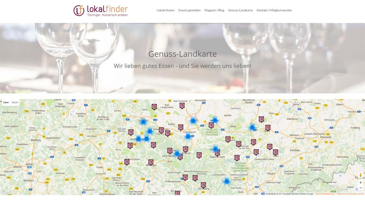 Template-Entwicklung der Webseite www.lokalfinder-thueringen.de