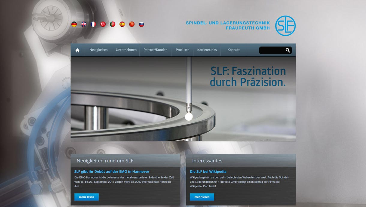 Screenshot der Webseite www.slf-fraureuth.de