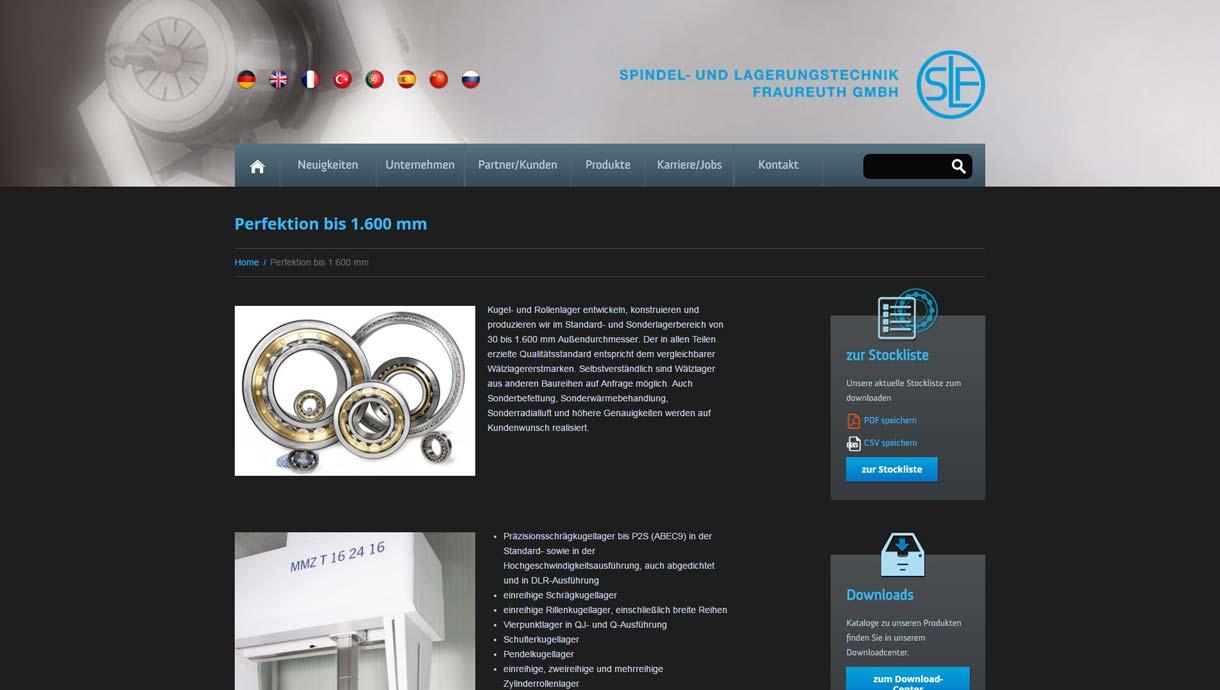 Template-Entwicklung der Webseite www.slf-fraureuth.de
